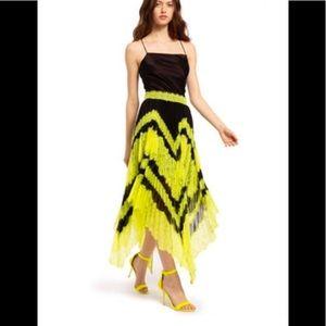 Alice & Olivia Asymetric lace Midi—neon yellow/blk